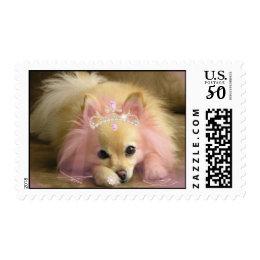 fairy princess dog with diamond crown postage