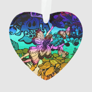 Fairy Princess Flying with Butterflies in a Rainbo Ornament