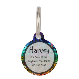 Fairy Princess Flying with Butterflies in a Rainbo Pet Name Tag