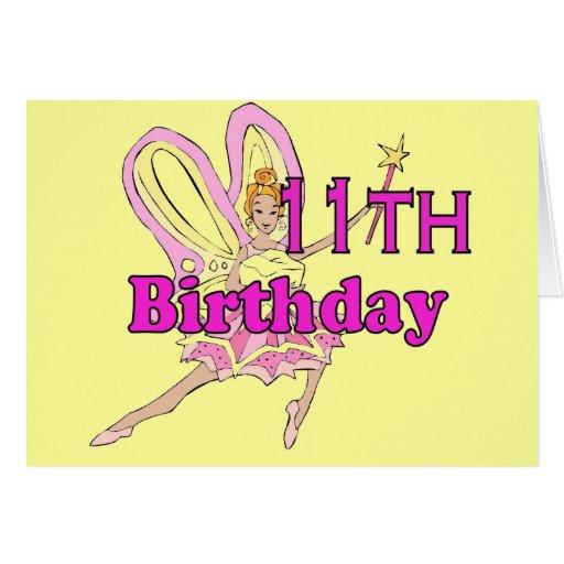 Fairy princess Girl 11th eleventh birthday card   Zazzle