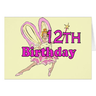 Fairy princess Girl 12th twelfth birthday card