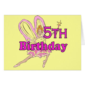 Fairy princess Girl 5th fifth birthday card