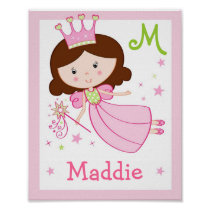 Fairy Princess Girls Nursery Wall Art Name Print