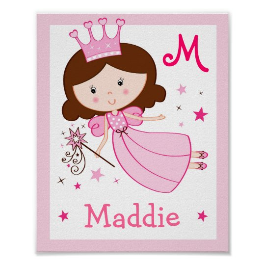 Fairy Princess Nursery Wall Art Name Print