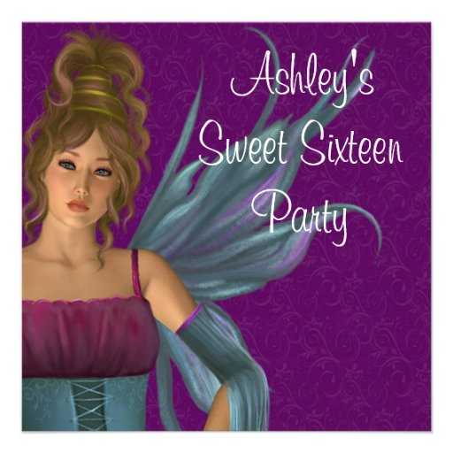 Fairy Princess Purple Teal Sweet 16 Party Custom Announcement