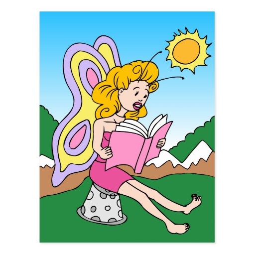 Cartoon Characters Reading Books : Fairy reading a book cartoon character postcard zazzle
