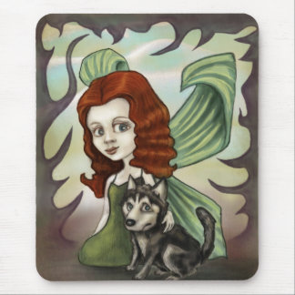 Fairy Redhead Girl and Husky Puppy Mouse Pad