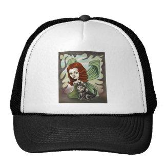 Fairy Redhead Girl and Husky Puppy Trucker Hat