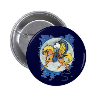 Fairy Riding a Pegusus Button