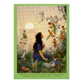 Fairy Secrets & Yeats Quote Vintage Print