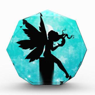 Fairy Silhouette against Teal Blue Night Sky Acrylic Award