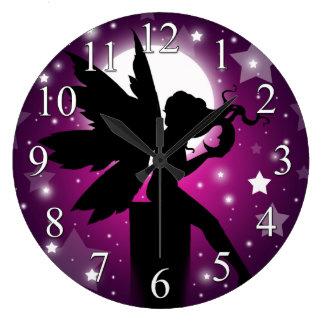 Fairy Silhouette Clock Purple Moon and Stars
