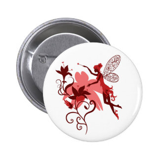 Fairy silhouette on white background with flowers button