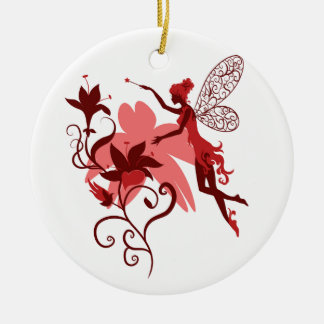 Fairy silhouette on white background with flowers ceramic ornament