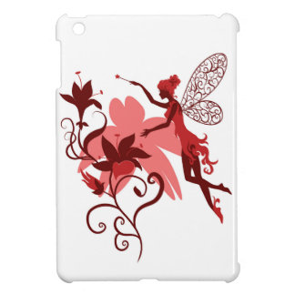 Fairy silhouette on white background with flowers iPad mini cover
