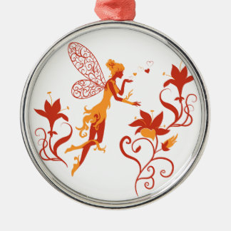Fairy silhouette on white background with flowers metal ornament
