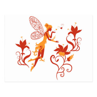 Fairy silhouette on white background with flowers postcard