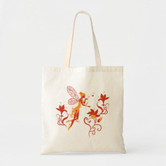 Fairy silhouette on white background with flowers tote bag
