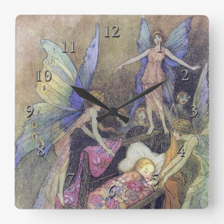 Fairy Singing to Baby by Warwick Goble Square Wall Clock