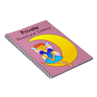 Fairy sitting on a crescent moon notebook