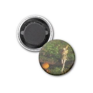 Fairy Sitting on a Mossy Log 1 Inch Round Magnet