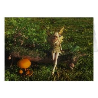 Fairy Sitting on a Mossy Log Card