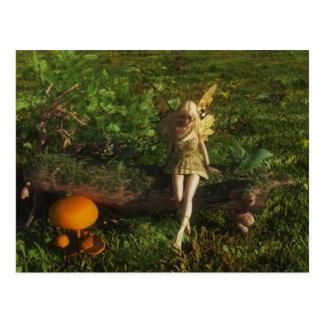 Fairy Sitting on a Mossy Log Postcard