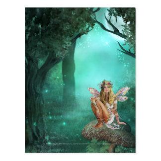 Fairy Sitting on a Mushroom Patch Postcard 2