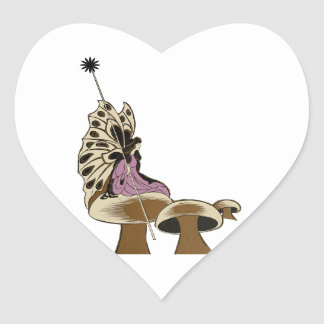 Fairy Sitting Upon A Mushroom Mythical Being Heart Sticker