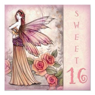 "Fairy Sweet Sixteen Party Invitations 5.25"" Square Invitation Card"