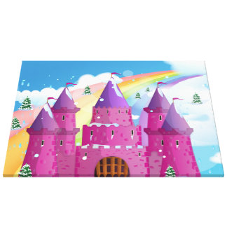 fairy-tail castle Rainbow Gallery Wrapped Canvas