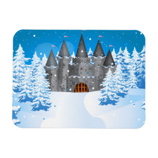 fairy-tail castle Winter Rectangle Magnets