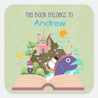Fairy Tale Bookplate, Green Square Sticker
