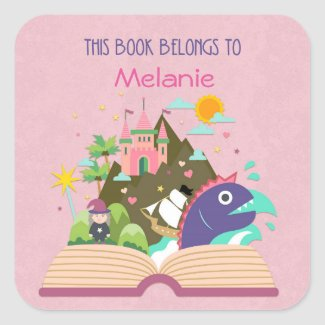 Fairy Tale Bookplate, Pink Square Sticker