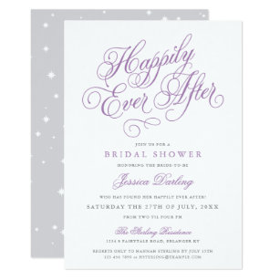 fairy tale bridal shower invitation purple grey