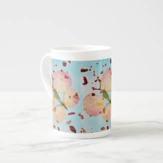 Fairy Tale Butterfly turquoise sky bone china cup
