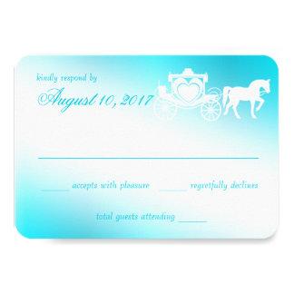 """Fairy Tale Carriage Aqua Response Card 3.5"""" X 5"""" Invitation Card"""