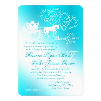Fairy Tale Carriage Aqua Wedding Card