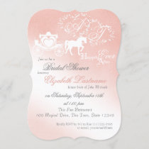 Fairy tale Carriage Bridal Shower Pink Invitation