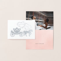 Fairy Tale Carriage Happily Ever After Thank You Foil Card