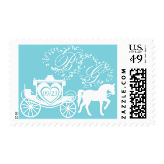Fairy Tale Carriage Monogram and Date Postage