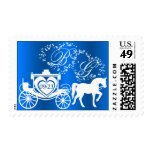Fairy Tale Carriage Monogram Sapphire Postage Stamp