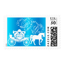 Fairy Tale Carriage Peacock Blue Postage