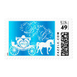 Fairy Tale Carriage Peacock Blue Postage Stamp