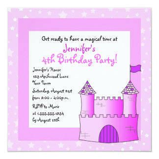Fairy Tale Castle Themed Child Birthday - Pink Card