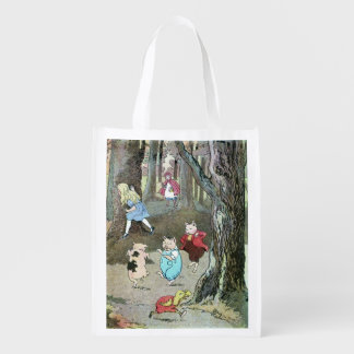 Fairy Tale Characters Vintage Scene Reusable Grocery Bag