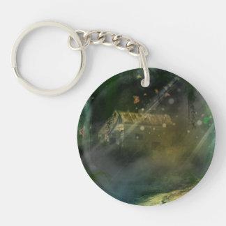 Fairy Tale Cottage Single-Sided Round Acrylic Keychain