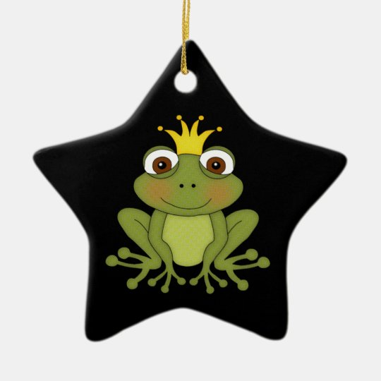 Fairy Tale Frog Prince with Crown Ceramic Ornament