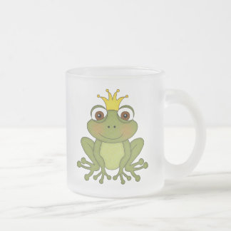 Fairy Tale Frog Prince with Crown Frosted Glass Coffee Mug