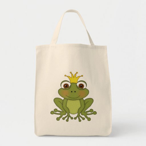 Fairy Tale Frog Prince with Crown Grocery Tote Bag